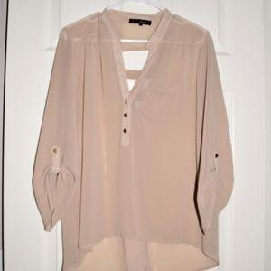 Women's 3/4 Sleeve Tan Chiffon/ Sheer Blouse XL